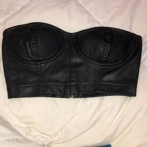 Forever 21 Black Faux Leather Bustier Crop Top